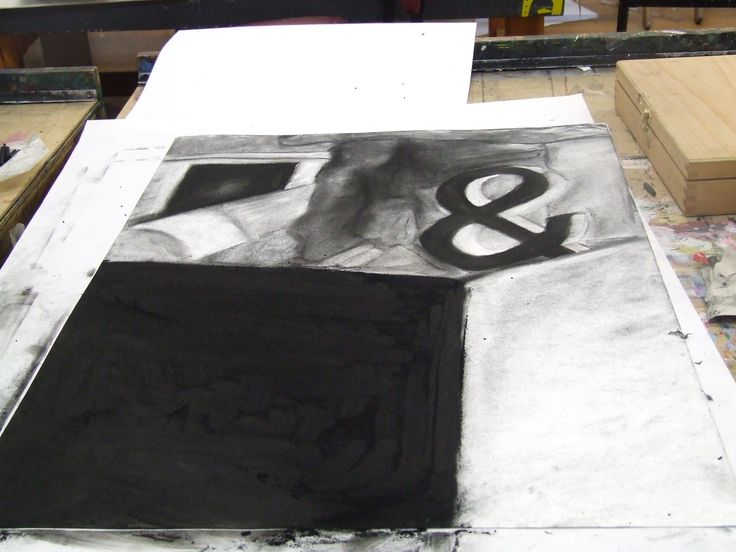 Added more black compressed charcoal to box shape.