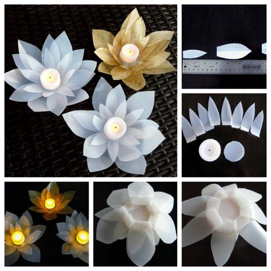 Recycled Milk Jug Flowers Lotus Votives Video Instructions