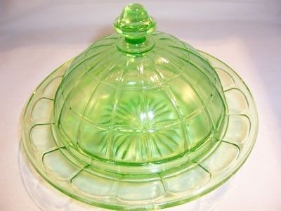 .Vaseline Glass Butter Dish Colonial Block