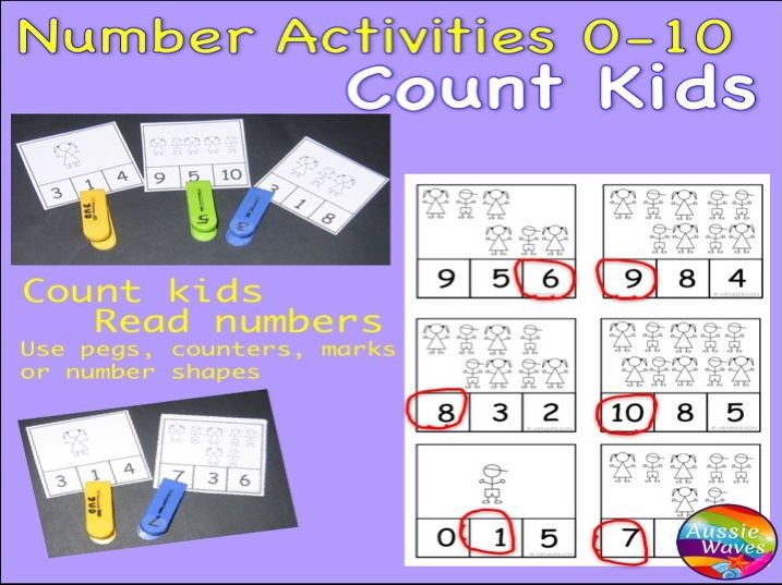 Early Maths Centre Activity COUNTING NUMBERS 0-10 COUNTING using STICK KIDS