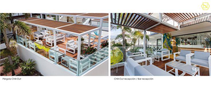 Pergola. Zonas comunes. Vanilla Garden Hotel. Tenerife. Pergola. Common areas. Vanilla Garden Hotel. Tenerife www.bn-arquitectos.com #Hotel #refurbishment #reforma #arquitectos #interiorismo #pergola #iluminacion #tropical #pool #design #interiordesign #madera #pergolametalica #acapulcochairs
