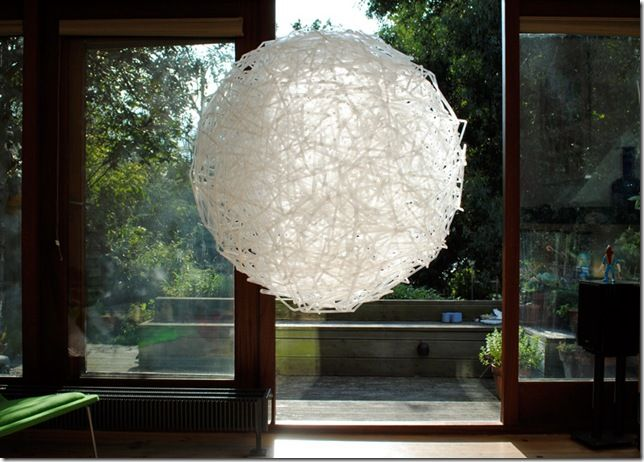 LOVE: lamp made from '000s of drinking straws; idea.