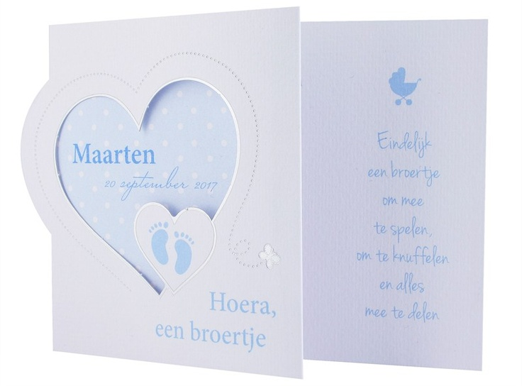 97.426 Broertje/ zusje, roze, stippels, hart, voetjes - Family Cards - De allerliefste geboortekaartjes