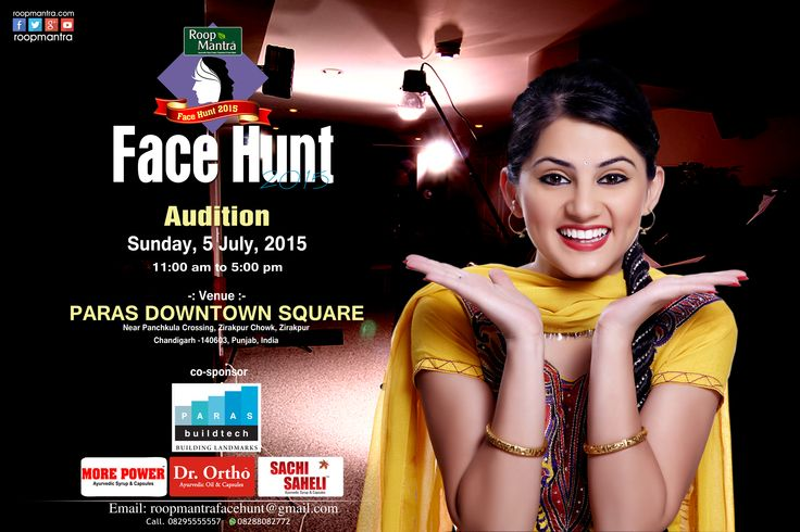 Only 5 Days Left for ...... Roopmantrafacehunt2015    Roop Mantra  Face Hunt Audition  , Sunday 5th July, 2015,  Timing: 11:00 AM to 5:00 PM  www.roopmantra.com ayurvedicfacecream   roopmantra   roopmantraskincare   fairnesscream   Ayurvediccapsules
