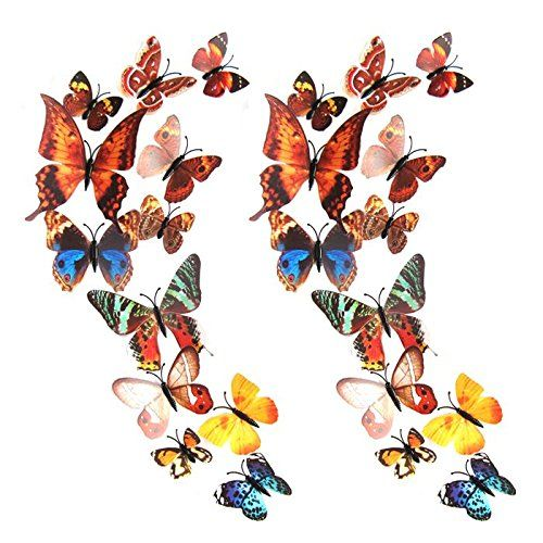 Mudder 3D Butterfly Stickers Wall Stickers for Home, Room Decoration, 24 Pieces, Multi-colors