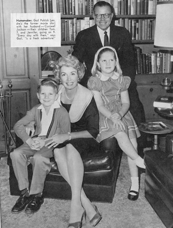 Gail Patrick, executive producer of the Perry Mason TV series (1957-1966), with her family.  From TV-Radio Mirror, March 1961.  From the Jim Davidson Collection.
