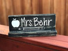 Black distressed wooden teacher name plate. teach appreciate plaque, teacher gift, educator gift, Gift for her, Gift for him, back to school
