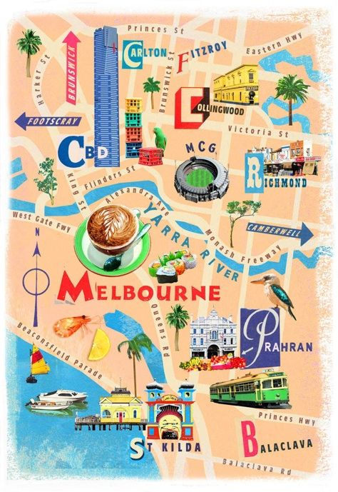 Illustrated Map of Melbourne, Australia // Carte Illustrée de Melbourne, Australie