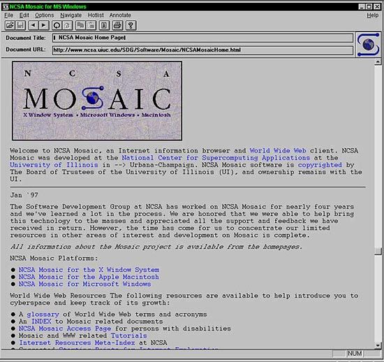 First graphical browser, NSCA, University of Illinois