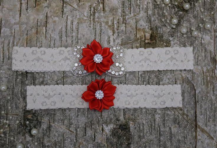 Bridal garter set/Rhinestone garter/Lace garte/bridal fashion/red garter/red garter set/keepsake garter/bridal gift/ red  wedding by ArentWeLovely on Etsy