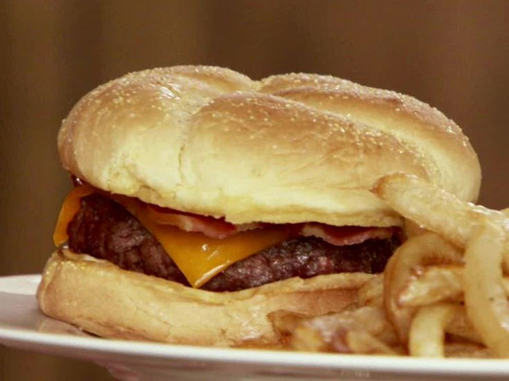 Perfect Bacon Cheeseburgers from Food Network - just leaving off hot sauce for our family