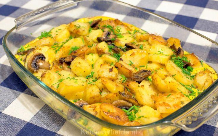 Aardappelschotel met champignons uit de oven - Keuken♥Liefde