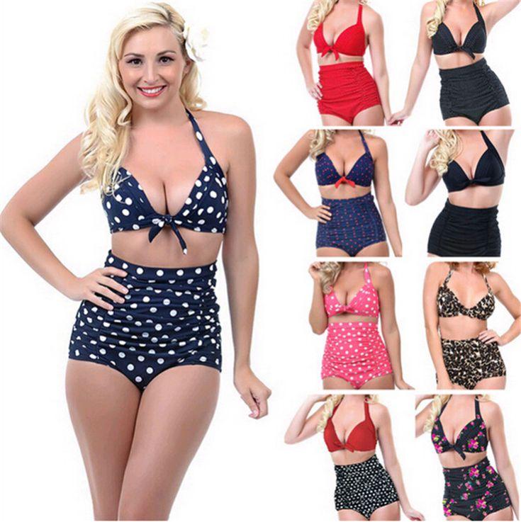 2016 Push up High Waist Swimsuit 4XL XXXL XXL big size Women Bathing Suit Padded  Bikini set Retro Beachwear Plus Size Swimwear