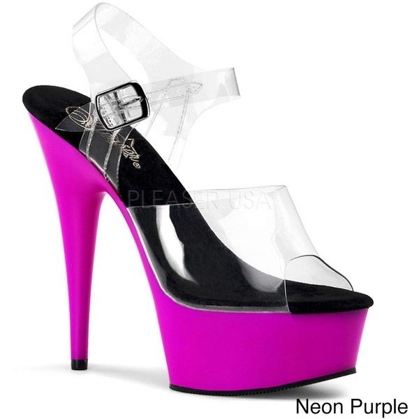 Pleaser 'Delight-608UV' Women's Ankle Strap Heels ($51) ❤ liked on Polyvore featuring shoes, pumps, clear, white pumps, ankle strap stilettos, neon pink pumps, purple pumps and white stiletto pumps