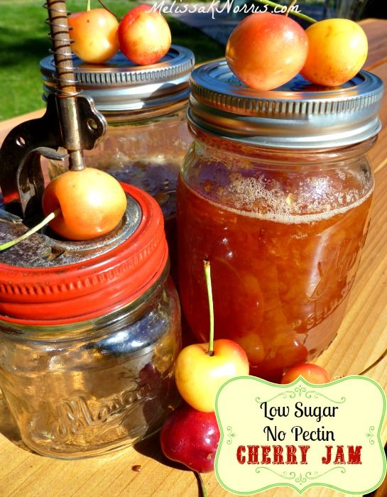 This cherry jam recipes is low sugar and no store bought pectin. Excellent for knowing how to can jam with just your food storage supplies. Plus, it cuts down your cost! Easy to follow instructions.