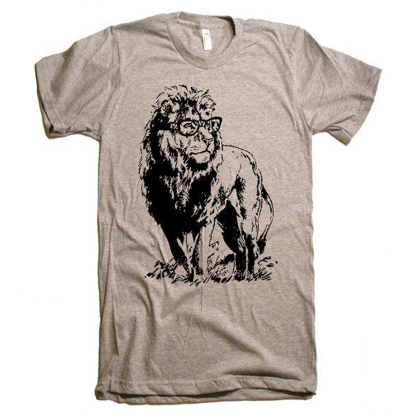 Mens Lion Professor T-Shirt - American Apparel Tshirt - XS S M L XL and XXL (28 Color Options)