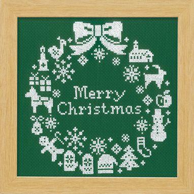 オリムパス 刺繍キット クロスステッチ クリスマスリース グリーン X-101 【参考画像1】