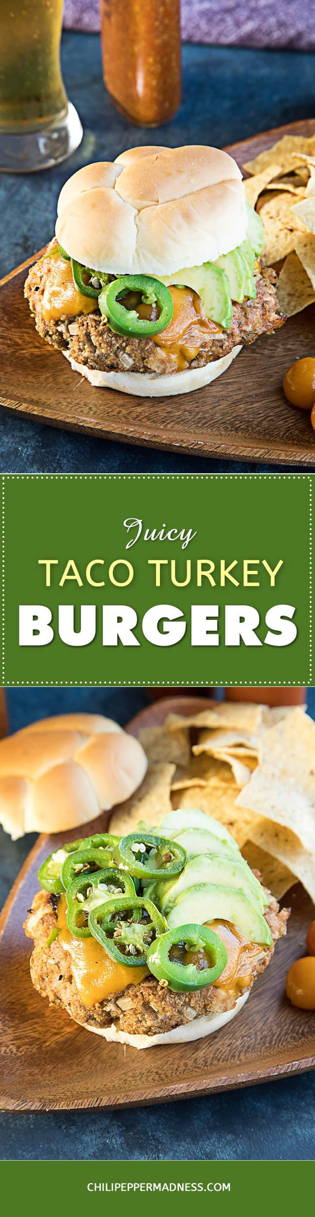 Taco Turkey Burgers – A recipe for perfect, thick, juicy turkey burgers generously seasoned with taco seasoning, topped with cheddar cheese, seared jalapenos and sliced avocado. You haven't had a turkey burger until you've had this one.