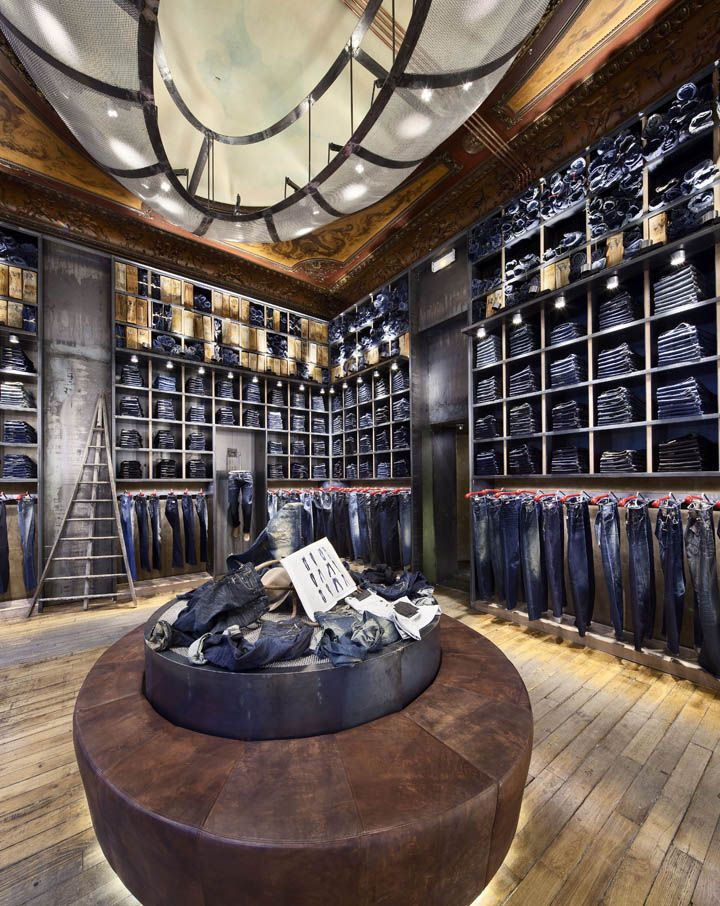 ♂ Masculine & contemporary commercial space retail store design Replay flagship store, Paris denim wall #ecogentleman