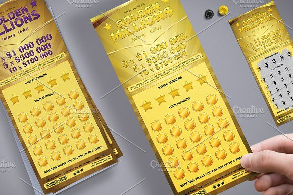 Lottery Ticket in Golden Style by Tzochko on @creativemarket