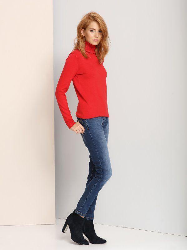 sweter golf długi rękaw damski   klasyczny, luźny czerwony - SSW1792 TOP SECRET