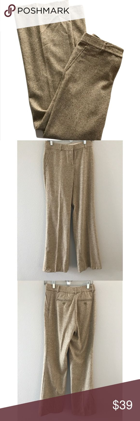 Theory Emery Wool Tweed wide leg pants trousers Theory Womens Emery Wool Flat Front Dress Pants Trousers 4    Size Origin: US Manufacturer Color: Camel/Tan/Brown Retail: $265.00 Condition: Excellent pre-owned Fit: Style Type: Dress Pants Collection: Theory Bottom Closure: Hook/Bar Zip Fly Waist Across: 15 Inches Inseam: 34 Inches Rise: 8.5 Inches Hips Across: 15 1/2 Inches Leg Opening: 22 Inches Front Style: Flat Front Back Pockets: Slit Pockets Material: 96% Wool/4% Lycra Fabric Type: Wool…