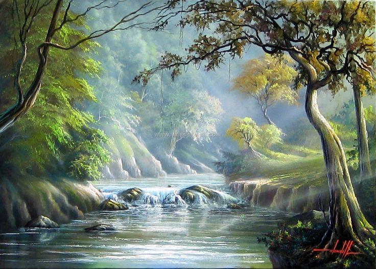 paisagens com cachoeiras em pintura - Pesquisa Google