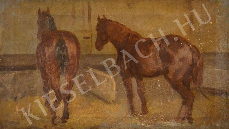 Two Horses in the Barn - Lajos Kunffy