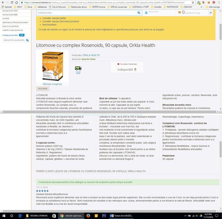 imagine din campania Litomove desfasurata de buzzstore.ro, 6.3.4. Review de produs pe site-urile de comert electronic care comercializeaza produsul Litomove https://comenzi.bebetei.ro/mama_si_copilul/sanatate_mama_si_bebe/vitamine/litomove_cu_complex_rosenoids_90_capsule_orkla_health-p10078643#comentarii  #buzzlitomove, #BUZZStore, @BUZZStore, #rezultatecuLitomove, #LITOMOVE, @Litomove Romania