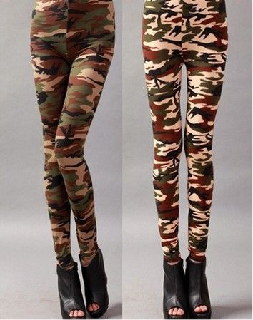 1 stuks camouflage leger groene vrouwen mode camouflage jegging legging broek jeans broek pw019 look