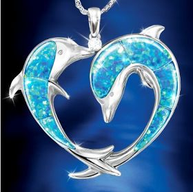 Opal And Diamond Dolphin Art Pendant