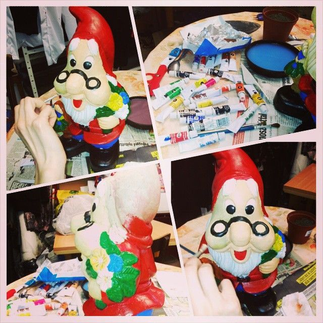 new clothes to the garden gnome :) @kicsidudu #PhotoGrid #gardengnome #spring #painting #happiness #creative #imaginate #together #garden