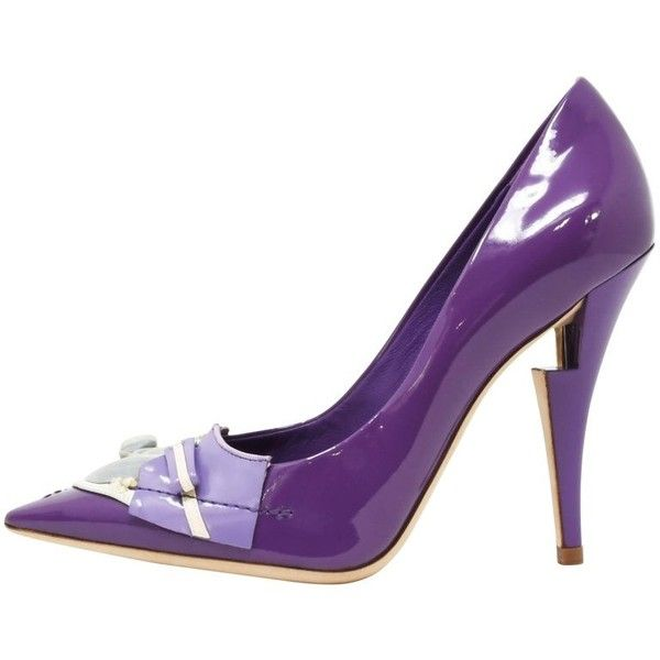 Preowned Louis Vuitton After Dark Riviera Violet Patent Leather Pumps,... ($1,650) ❤ liked on Polyvore featuring shoes, pumps, high heels, purple, sequin pumps, purple pumps, patent pumps, embroidered shoes and high heel stilettos