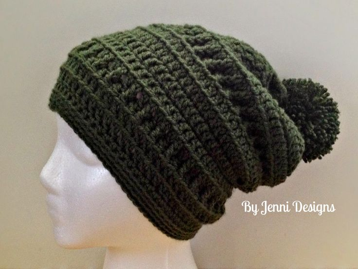 free crochet pattern  slouchy hat  By Jenni Designs