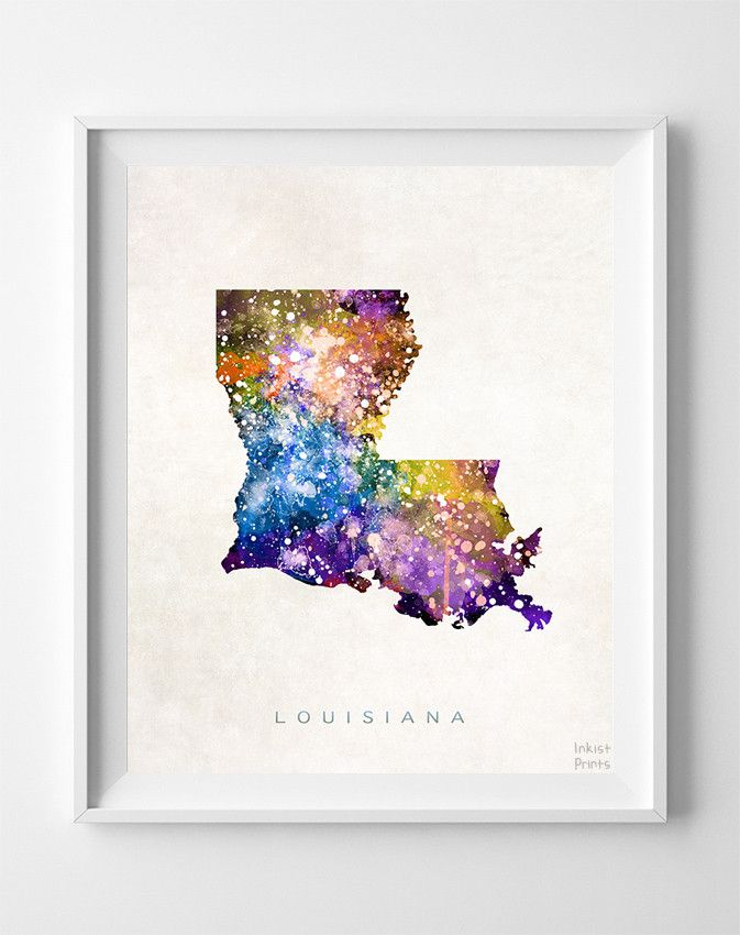 Louisiana Watercolor Map Print