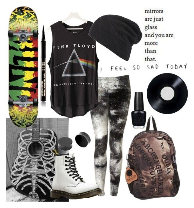 """""""Random at best"""" by xxonyx-lightwaterxx ❤ liked on Polyvore featuring Topshop, Floyd, AllSaints, Dr. Martens and OPI"""