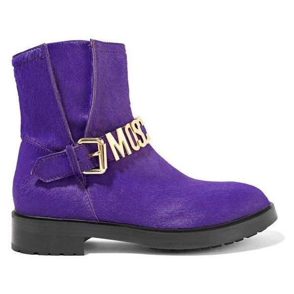 MOSCHINO Buckle-detailed calf hair ankle boots ($638) ❤ liked on Polyvore featuring shoes, boots, ankle booties, stacked heel ankle boots, zipper ankle boots, purple boots, buckle booties and zipper bootie