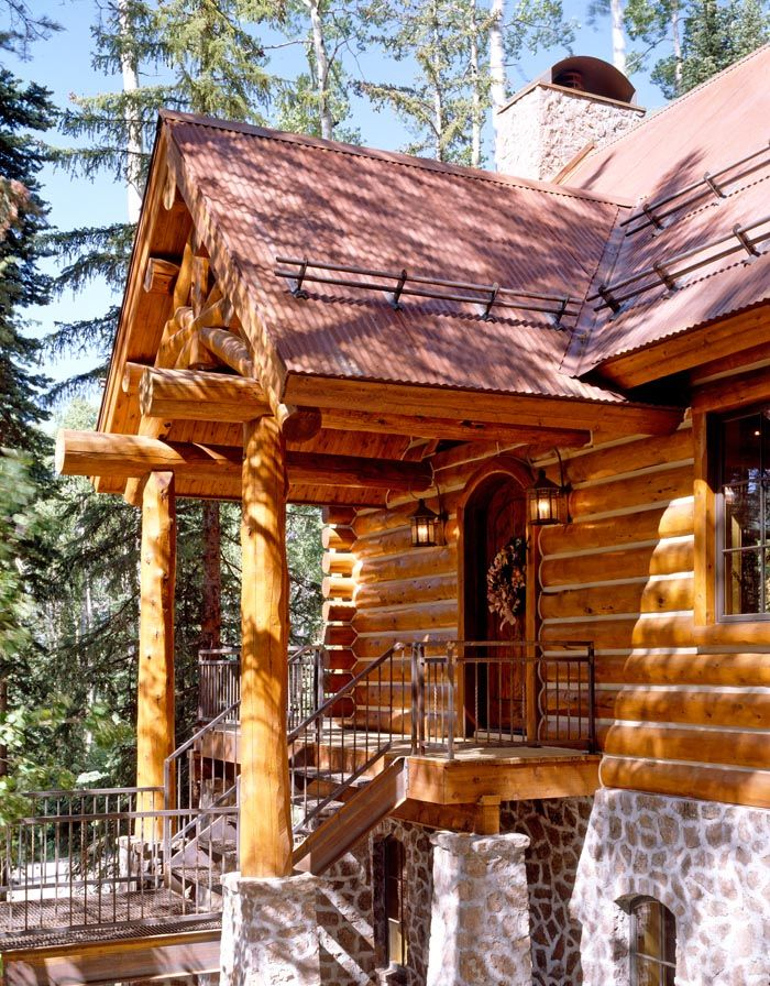 10 images about mountain rustic on pinterest cedar for Log and rock homes