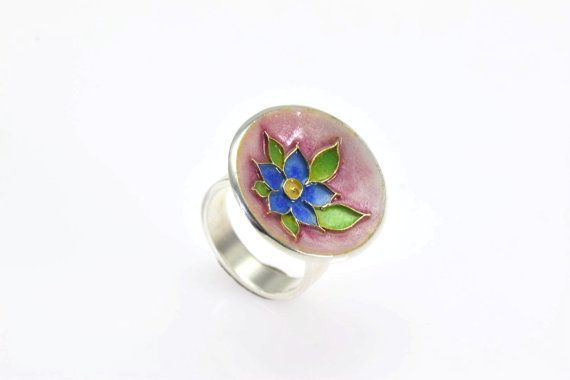 Flower Ring, Cloisonne Ring, Sterling Silver Ring, Enamel Ring, Floral, Botanical Jewelry, Blue Flower Ring, Giampouras Collections €133.00 #enamelring #spring #blueflower