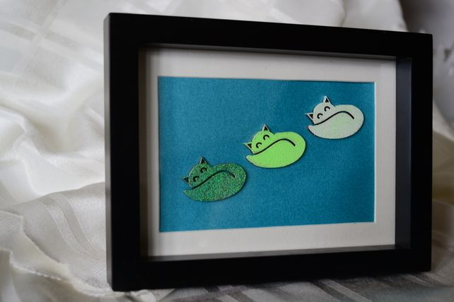 quirky funky cat lover boxed photo frame  £8.00