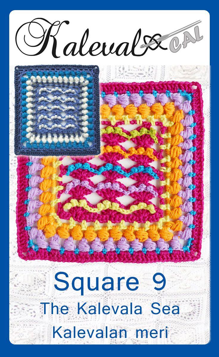 Kalevala CAL crochet-along. Square 9, Kalevala sea crochet pattern #crochet #crochetblanket #crochetpattern