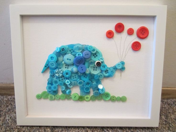 (Button) Elephant in the Room-Tutorial; A but of a harder DIY- but so cute for a special friend who has a new baby- tip: use a stencil first then glue the buttons on with a hot glue gun (they will stay on better). If you like the extra challenge you can sew them on but layering the buttons may prove to be a bit of a challenge.