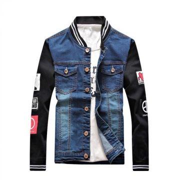 Fashion One of A Kind Harujuku Male Denim Shirt Men Shirt Patch Sweatshirt Sleeve Denim Jacket dark bule Asian Size S
