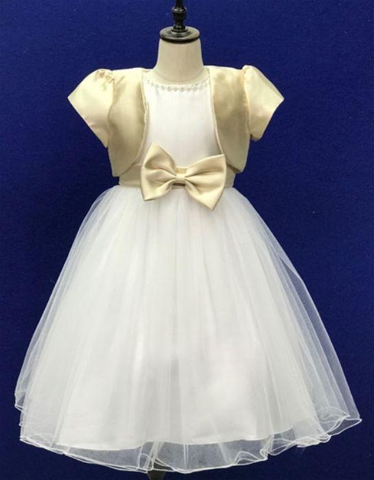"""Παιδικό Φόρεμα σε Λευκό και Χρυσαφί για Παρανυφάκι, Πάρτυ, Βάπτιση """"Carmel"""" - memoirs.gr"""