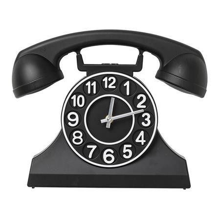 ACHICA   Wall Clock Telephone, Black