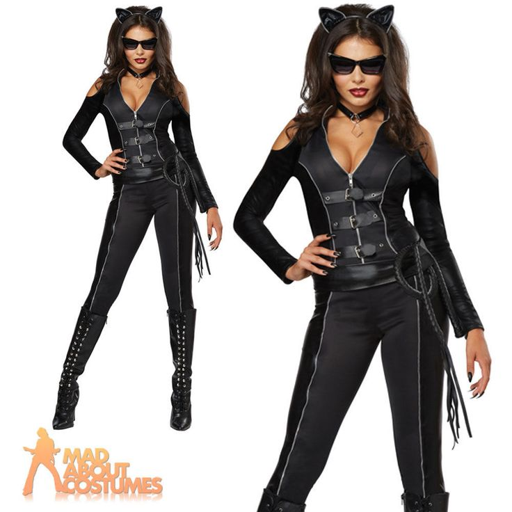Catsuit Costume Sexy Fatal Feline Ladies Cat Fancy Dress Woman Outfit