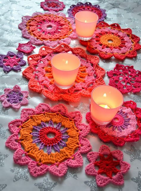 Free pattern coasters and doilies. Diagram only for English.. ☀CQ #crochet