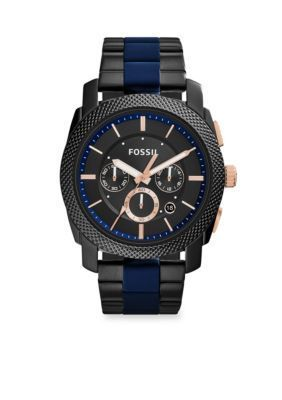 Fossil Black Mens Machine Black Stainless Steel and Blue Silicone Bracelet Chronograph Watch