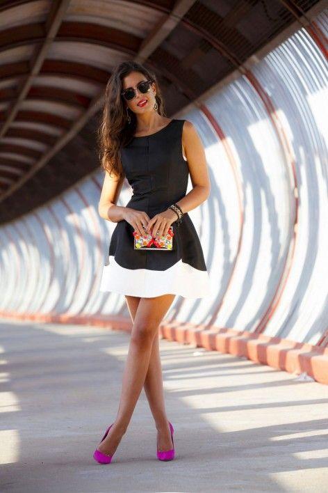 Vestido blanco y negro de fiesta Area