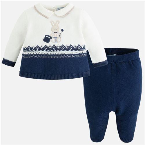 Mayoral Erkek Bebek Kışlık Örme Triko Patikli Pantolon S-shirt Set Koyu Mavi